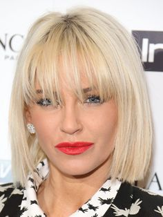 Sarah's joined the bob brigade AND got bangs. Talk about a 2014 makeover! Her chic short cut and long feathered fringe injects some instant cool into her look. Like. 14 DATE NIGHT HAIRSTYLES THE BIGGEST HAIR TRENDS OF 2014 HAIRSTYLE OF THE DAY  -Cosmopolitan.co.uk
