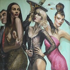 Party Time, Figurative, oil on canvas, Gerard Byrne, www.gerardbyrneartist.com SOLD