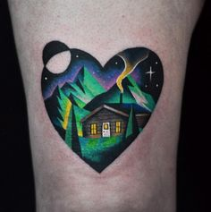 Awesome landscape tattoo by David Cote
