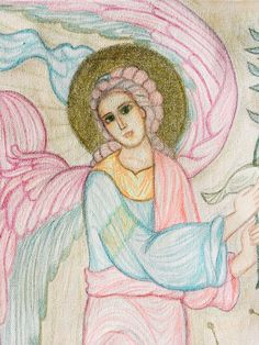 Guardian Angel, pastel pencils, detail. Painting by Maria Karolidou