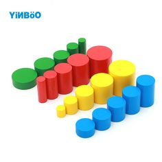 Baby Toy Learning Educational Toys Family Version Cylinders Montessori Wooden 4 Sets of 5  Great Gift for Children