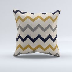 Mustard gray and blue chevron throw pillow throw by PrintArtShoppe