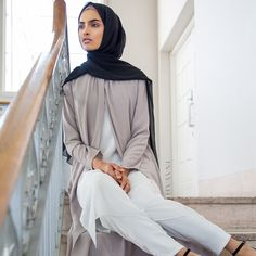 INAYAH | Perfect for autumn transition - Stone Wrap #Front #Coat - also available in Black + White Straight Leg #Trousers + Black Soft Crepe #Hijab - www.inayah.co