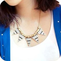 Black and white the geometric triangles wild necklace pendant ,shop at Costwe.com