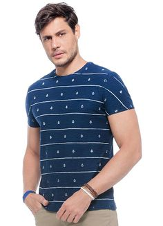 Camiseta Âncoras Manga Curta Azul Malwee Adulto - Posthaus