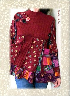 Patchwork Sweater Tunic Top in An Assortment of Hues by AuraGaia, $74.95