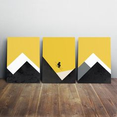 Make any space in your home innovative and unique by adding this Modern & Contemporary art pieces Skier Christmas gifts, Mountain ski wall decor, SET of three art prints Set of three wall art prints. You will receive three artworks. Mini Canvas Art, Canvas Wall Art, Art Moderne, Geometric Art, Art Projects, Art Drawings, Abstract Art, Illustration, Art Prints