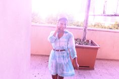 This actually wasn't made by me. It was a white Kenneth Cole shirt dress that I would never wear until I gave it the blue dye job. I used Teal RIT dye.