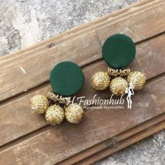 Earrings color can be customised. Dm for details. Fabric Earrings, Jewelry Design Earrings, Gold Earrings Designs, Fabric Jewelry, Diy Earrings, Fashion Earrings, Thread Jewellery, Gold Jewellery, Jewelery