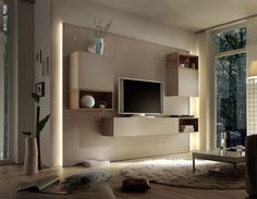 Ensemble meuble TV lumineux laqué crème moderne MOIRA