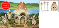 Collectible Mini Fairy Garden Stakes and House - 4 pc