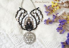 The Seed of Life macrame necklace micro-macrame jewelry