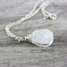 White Druzy Necklace Wedding Jewelry Bridal Necklace by starletta