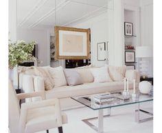 Gilles Mendel's elegant white living room.