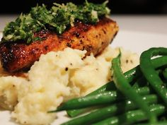 Cajun Chicken breast with gremolata, creamy mash and buttered green beans.
