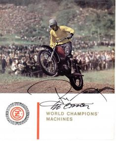 This autographed CZ brochure, circa 1966 or features a great shot of a very young Roger DeCoster. European Motorcycles, Vintage Motorcycles, Dirt Motorcycles, Indian Motorbike, Motocross Racer, Old Scool, Off Road Racing, Vintage Motocross, Old Bikes