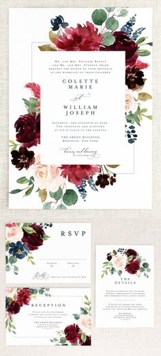 Printable Fall Floral Wedding Invitations - Floral Wedding Invites - Fall Wedding - Burgundy Wedding - Wedding Printables - Printable Wedding Invitations invitaciones Top 10 Printable Wedding Invitations on Etsy Burgundy Wedding Invitations, Beach Wedding Invitations, Watercolor Wedding Invitations, Printable Wedding Invitations, Wedding Invitation Templates, Event Invitations, Rustic Wedding Invitations, Floral Wedding Stationery, Invitation Floral