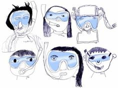 Mrs. Knight's Smartest Artists: drawing underwater self portrait