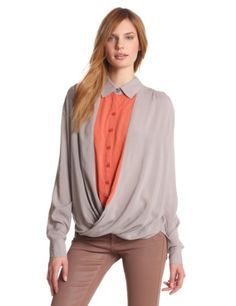 BCBGeneration Womens Contrast Twist Front Shirt