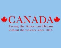 FUNNY TSHIRT Canada Living The American Dream Without Violence T-Shirt Mens Womens Tee Shirt (also available on crewnecks and hoodies Funny Canadian Memes, Canadian Sayings, Canadian Humour, Canada Eh, Canada Jokes, T Shirts Canada, I Am Canadian, You Funny, Hilarious