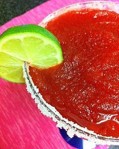 Food Network invites you to try this Frozen Watermelon Margaritas recipe from Food Network Kitchens.  #recipe #recipes