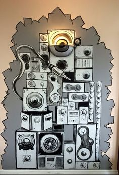 Speaker stack mural in residential unit Original artwork by Alex Mckell