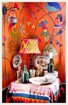 ⋴⍕ Boho Decor Bliss ⍕⋼ bright gypsy color & hippie bohemian mixed pattern home decorating ideas - vignette