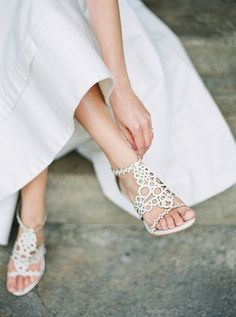 White wedding sandal