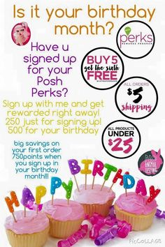Sign up for Perfectly Posh's Reward Program and get 500 FREE perks for your birthday!  Like what you see? Visit my website for more product information and pricing: www.iPoshwithCarolyn.com  All items are less than $25; all shipping no matter how big or small $5; buy 5 get the 6th FREE