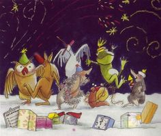 praatplaat bij het prentenboek gelukkig nieuwjaar slak New Years Eve, Happy New Year, School, Painting, Illustrations, Xmas, Happy New Years Eve, Painting Art, Illustration