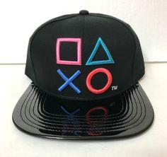 ec09f78c0ed mens PLAYSTATION CONTROLLER SHAPES SNAPBACK HAT Black SHINY BRIM Sony Video  Game  Bioworld  BaseballCap
