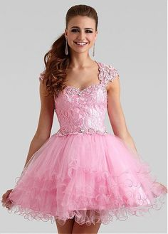 Lovely Lace & Tulle Queen Anne Neckline A-Line Homecoming Dresses .- $183.99