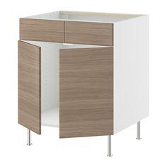 "$361.00 = 36"" Base for sink. AKURUM Base cb f sink w 2 drs/2 fascia pan - white, Sofielund walnut effect light gray, 36 "" - IKEA"
