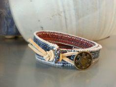 Wraparound Bracelet Jean Button Upcycled Jeans por BlueDoorShoppe