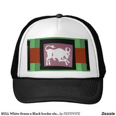 BULL White Green n Black border elegant design Trucker Hat