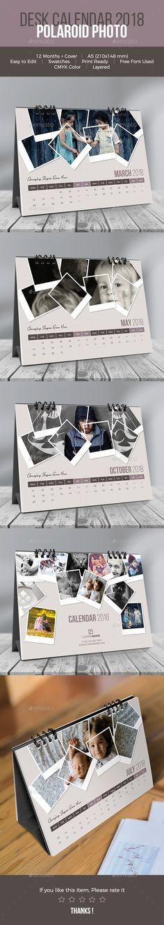 Desk #Calendar 2018. Polaroid Photo - Calendars #Stationery