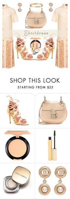 """""""Shirtdress"""" by marionmeyer ❤ liked on Polyvore featuring Marchesa, Chloé, MAC Cosmetics, Stila, Dolce&Gabbana, Chanel, Cartier and shirtdress"""
