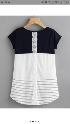 To find out about the Contrast Panel Lace Applique Striped Tee at SHEIN, part of our latest T-Shirts ready to shop online today! Dresses For Teens, Simple Dresses, Umgestaltete Shirts, Bon Look, Casual Outfits, Cute Outfits, Look Fashion, Womens Fashion, Stitch Fix Outfits