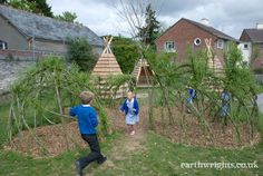 Willow domes, tunnels, and arches made by the pupils