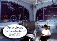 Outer Space Themed Bedrooms at http://kidsdecoratingideas.com/outer-space-theme-room.php.    Does your little one ever dream of the stars? If rocket ships and far-flung galaxies are what gets him going, an outer space theme room might be just what your little astronaut needs.