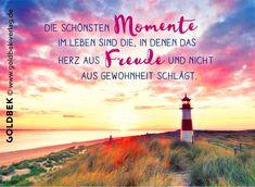 Postkarten - am Meer. Die schönsten Momente im Leben sind die, in denen das Herz aus Freude und nicht aus Gewohnheit schlägt.