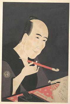 The Writer Santô Kyôden (a.k.a. Kitao Masanobu)  Rekisentei Eiri  (Japanese, active ca. 1789–1801)  Period: Edo period (1615–1868) Date: ca. 1795 Culture: Japan Medium: Polychrome woodblock print; ink and color on paper