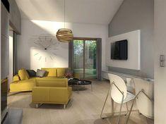 Projekt domu Maja II 108,43 m2 - koszt budowy 187 tys. zł - EXTRADOM House Roof Design, Modern Bungalow House, House Floor Plans, Corner Desk, My House, New Homes, Layout, Flooring, Architecture