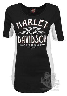26babb35a8caf6 Harley-Davidson® Womens Run The Night Open Neck Black Half Sleeve T-Shirt -  Barnett Harley-Davidson®