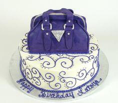 Guess Purse Cake  www.realbuttercream.com Handbag Cakes, Purse Cakes, Unique Cakes, Creative Cakes, Beautiful Cakes, Amazing Cakes, Adult Birthday Cakes, Birthday Ideas, Luggage Cake