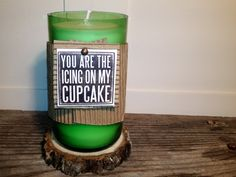 Recycled Beer Bottle Soy Candle with Quote by eviegrace on Etsy