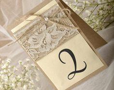Rustic Lace Wedding Table Number for by forlovepolkadots Burlap Table Numbers, Wedding Table Numbers, Handmade Wedding, Rustic Wedding, Lace Wedding, Wedding Guest Book, Our Wedding, Renewal Wedding, Golden Wedding Anniversary