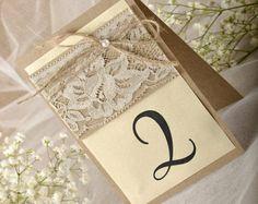 Número de la tabla de boda del cordón rústico para Wedding(5), cordón mesa números, números de mesa carpas, Eco Chick números,