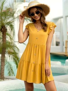 Yellow Casual Sleeveless Rayon Plain Smock Non-stretch Summer Dresses, size features are:Bust: ,Length: ,Sleeve Length:Sleeveless Stylish Dresses, Simple Dresses, Cute Dresses, Casual Dresses, Casual Outfits, Short Sleeve Dresses, Summer Dresses, Baby Dresses, Frock Fashion