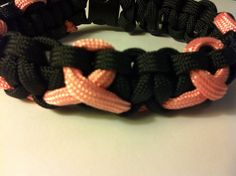 Para cord braided bracelet, Two-Toned, black with pink ribbon, 9 in (P030) on Etsy, $10.00